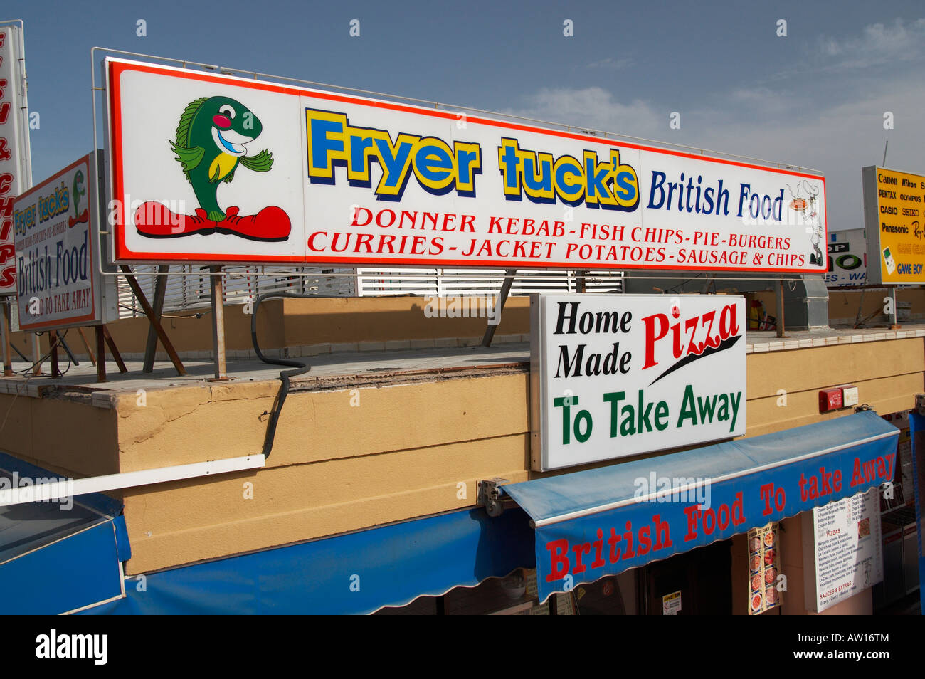 British bar in Puerto Rico, Gran Canaria advertizing British food. - Stock Image