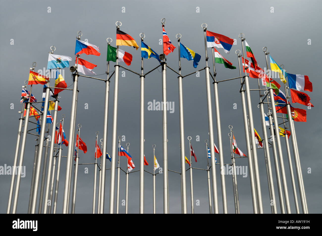 Flags of European countries - Stock Image