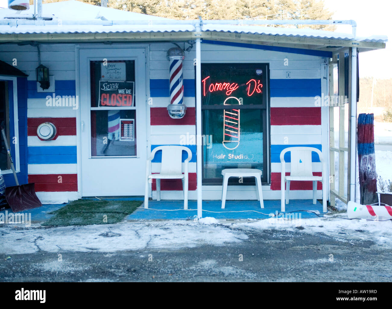 Small Roadside Barbershop Store Front Stock Photo