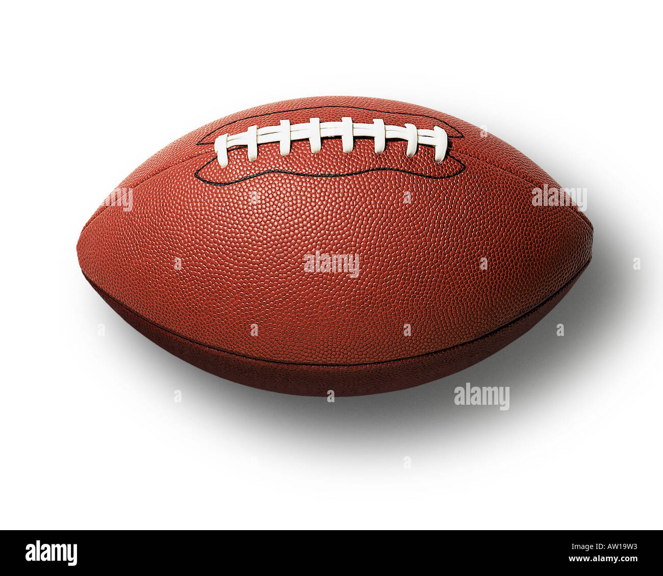 American Football on White with Drop Shadow Stock Photo