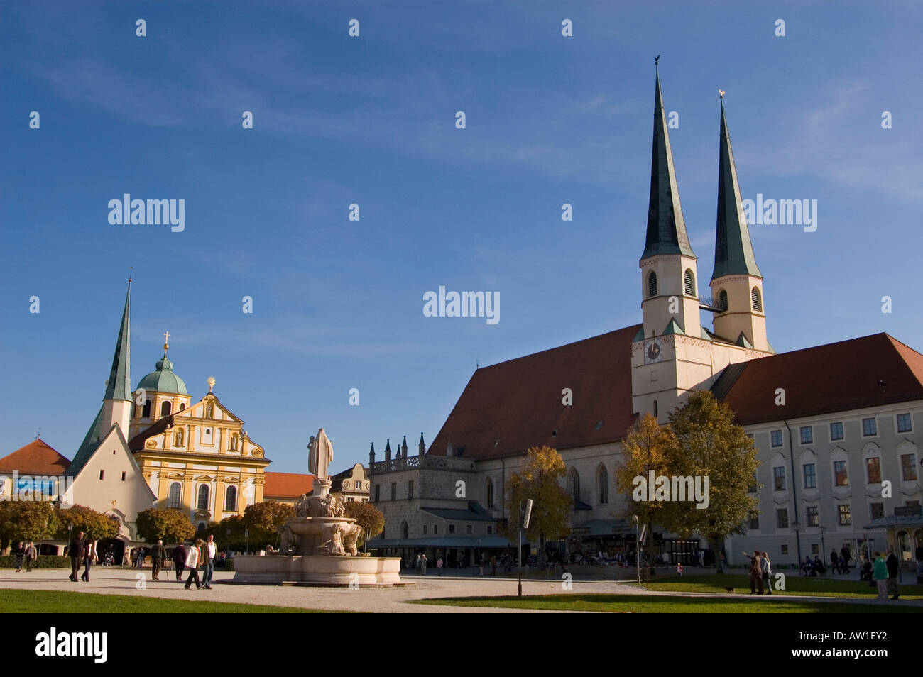 Pilgrimage church Magdalena, Chapell and cooegiate church , Place in Altoetting, Bavaria, Germany - Stock Image