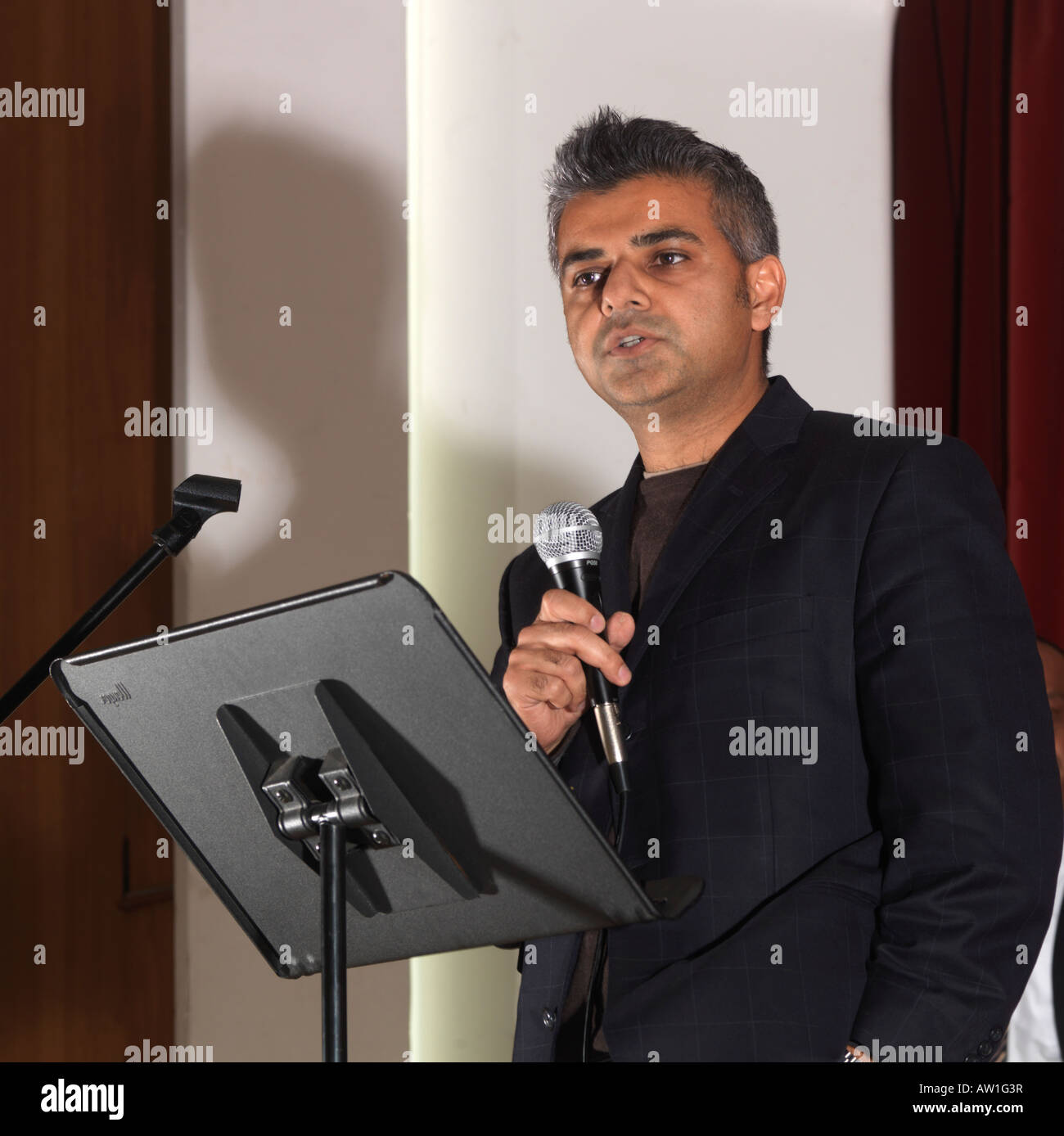 Diwali Wandswoth Town Hall London Sadiq Khan MP for Tooting on Stage with Microphone - Stock Image