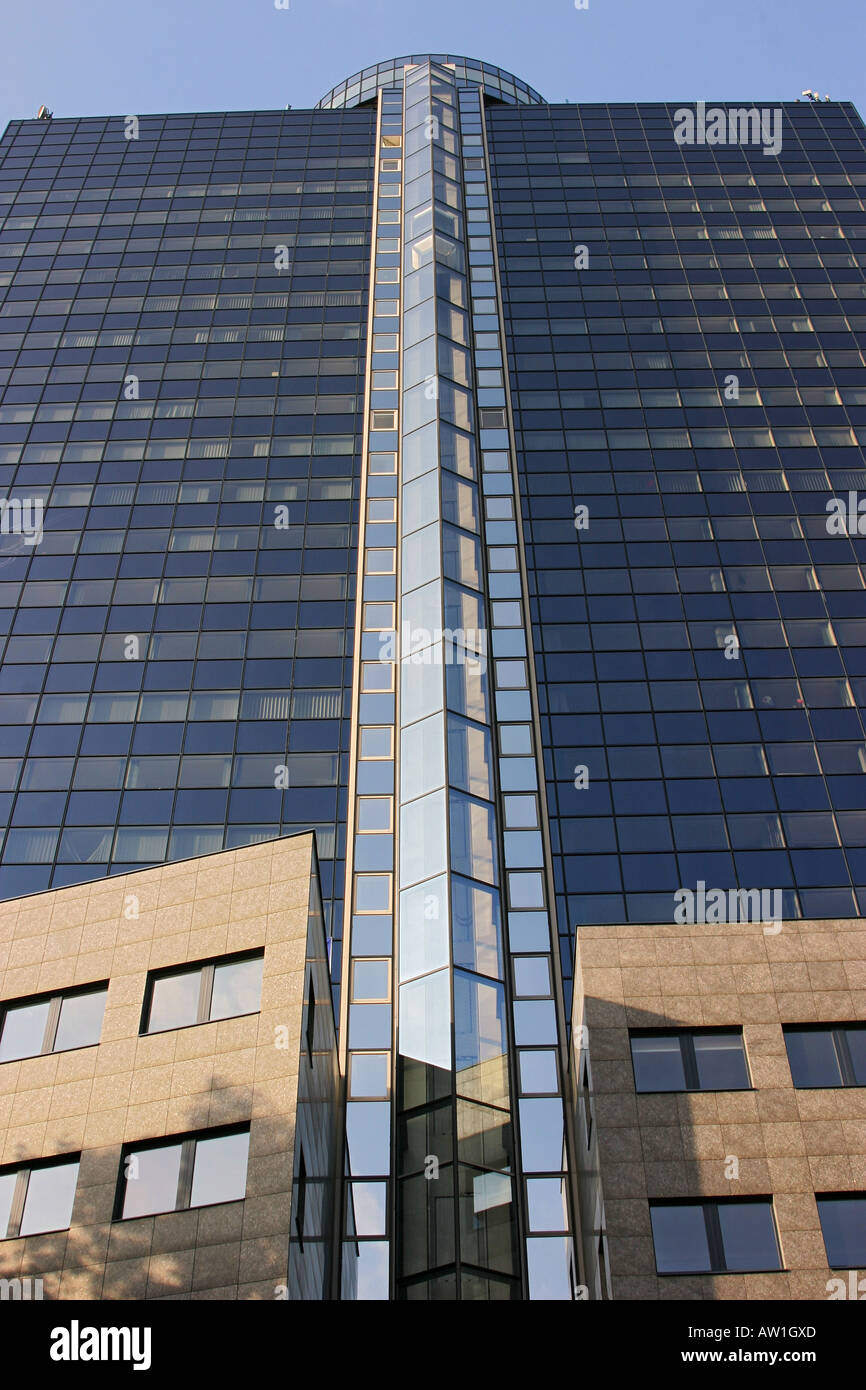 Facade of the BCN-Skyscraper with well elevator shaft made of glass, Frankfurt Main, Hesse, Germany - Stock Image