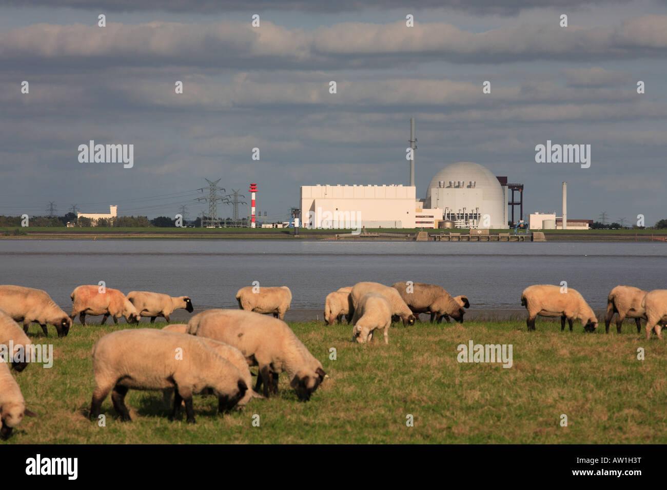 Deutschland Germany Schleswig Holstein Brokdorf KKW Kernkraftwerk - Stock Image