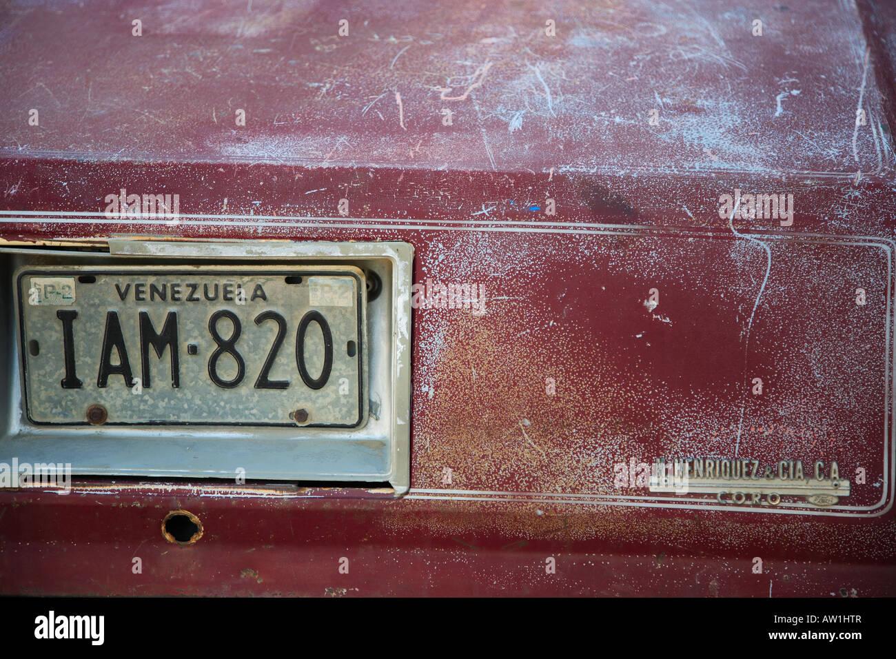 Venezuela Kennzeichen Nummernschild number plate - Stock Image