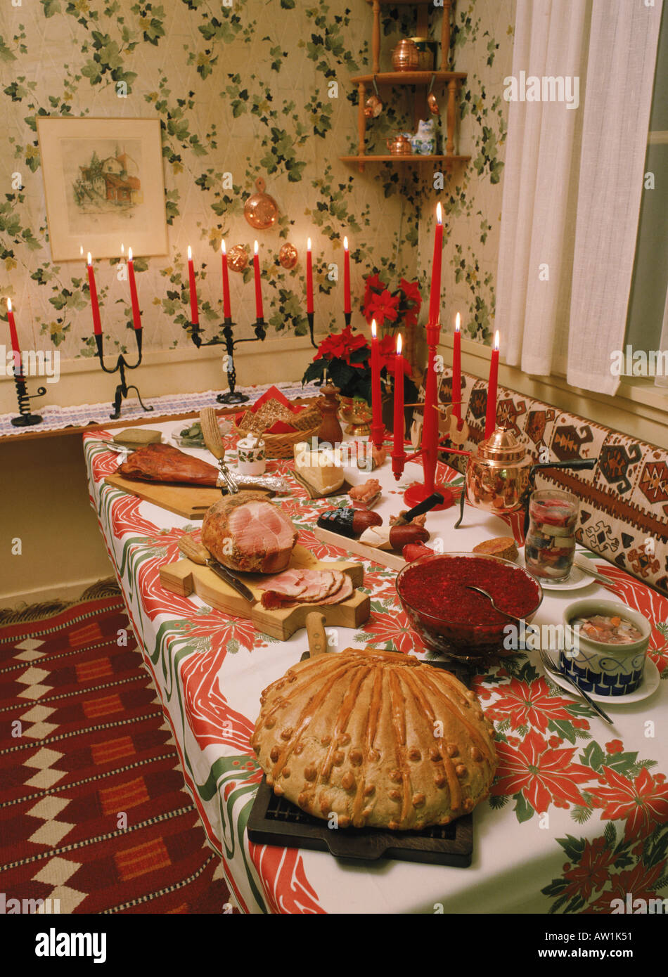 Swedish Christmas Bread.Swedish Christmas Table Or Julbord With Cheese Baked Bread Beer