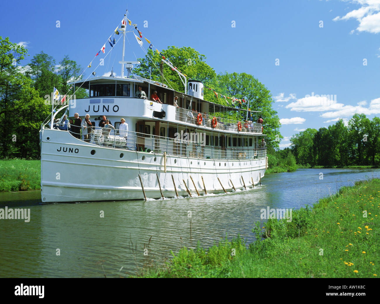 Old passenger steamship on the Gota Canal between Goteborg and Stockholm in Sweden - Stock Image