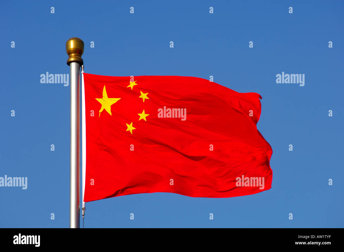 Flag of the Peoples' Republic of China, Beijing China - Stock Image