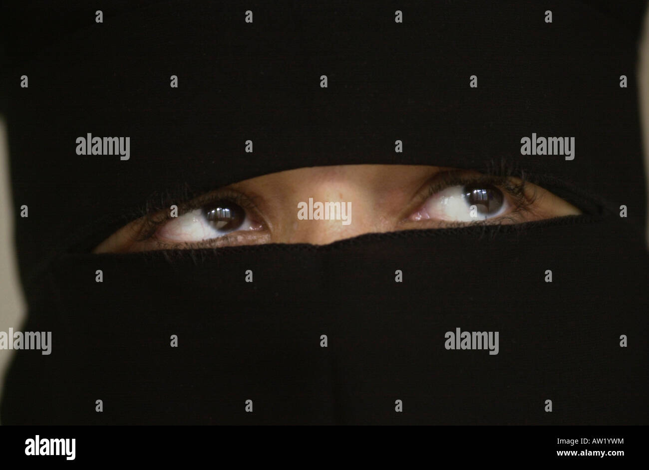 Woman with black burka UK Stock Photo