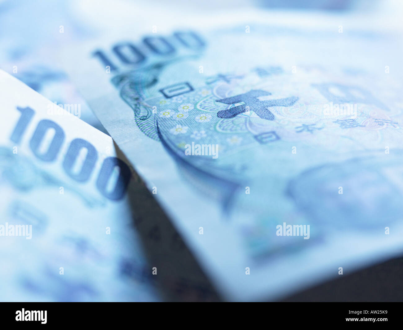 One thousand yen notes - Stock Image