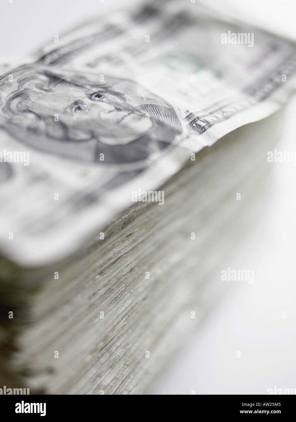 Pile of twenty dollar notes Stock Photo