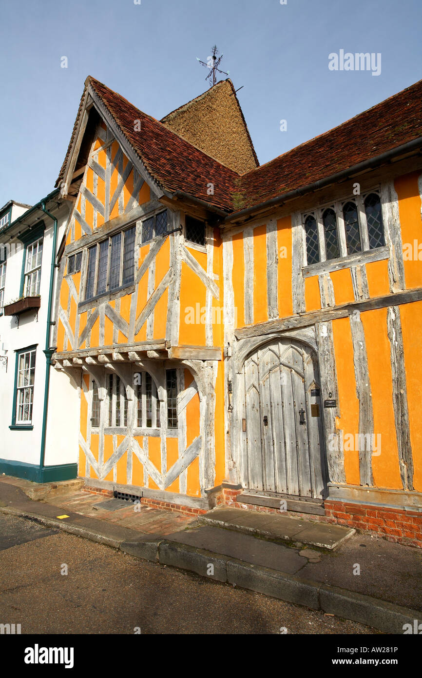 Europe England Lavenham Suffolk Little Hall Market Place 14th Century Buiding Stock Photo