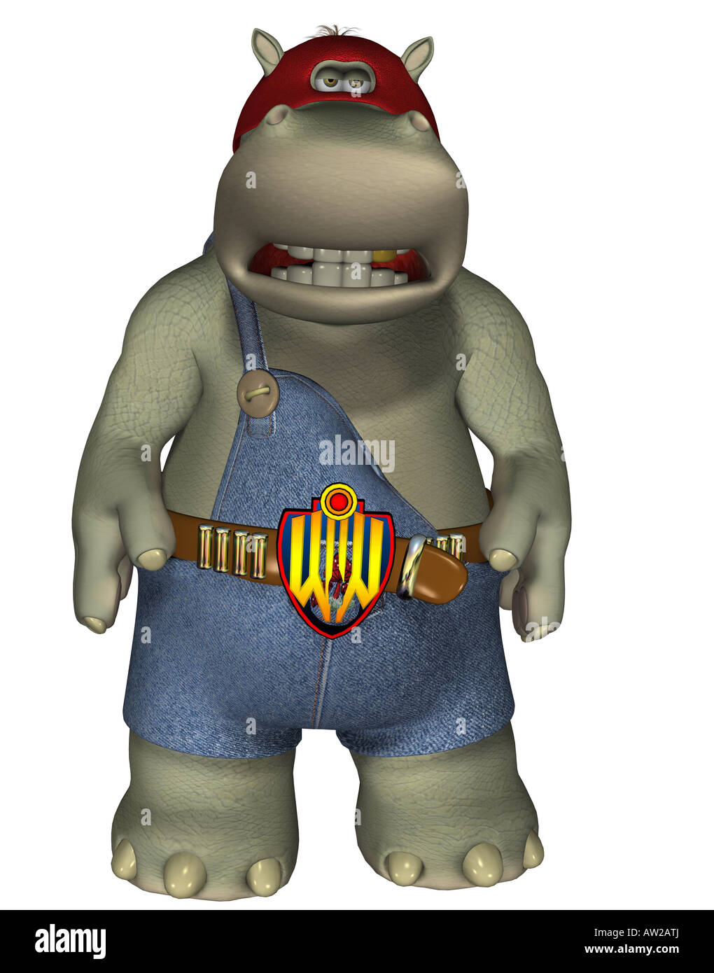 Wrestling hippo - Stock Image
