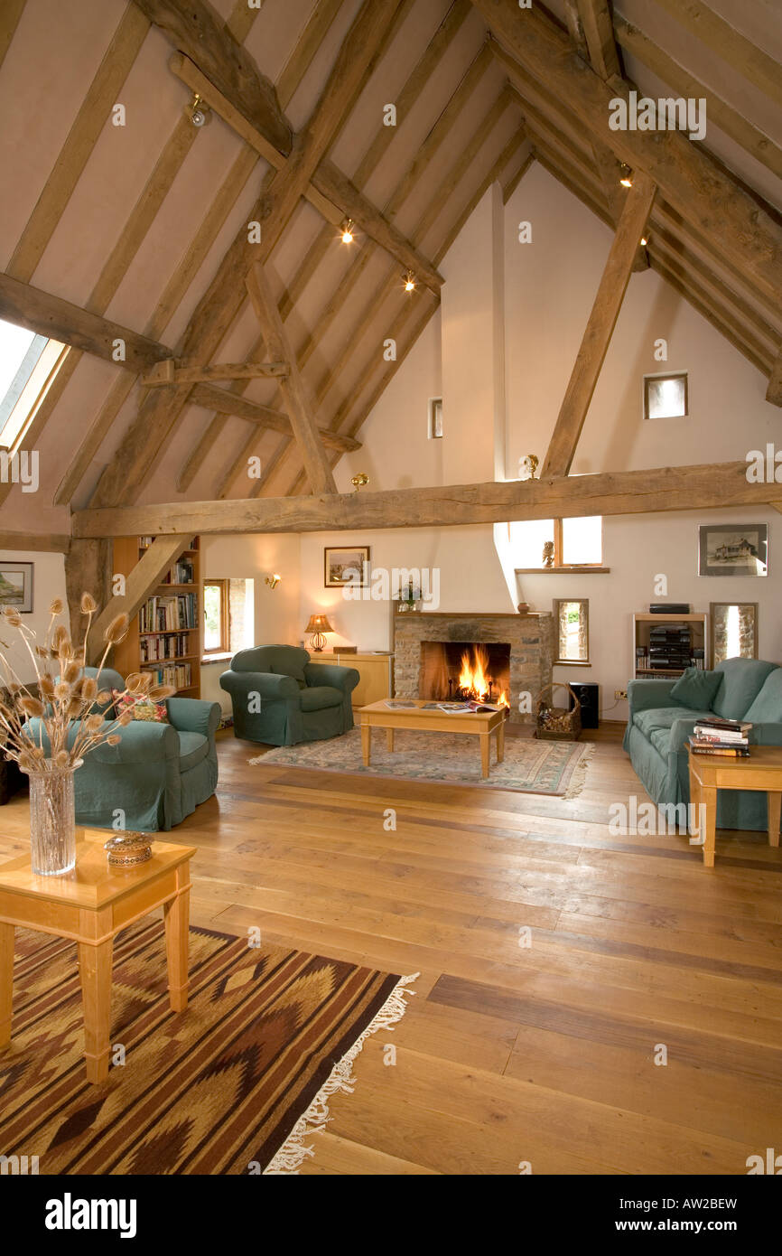Large open plan barn conversion reception room stock photo for Convert image to blueprint online