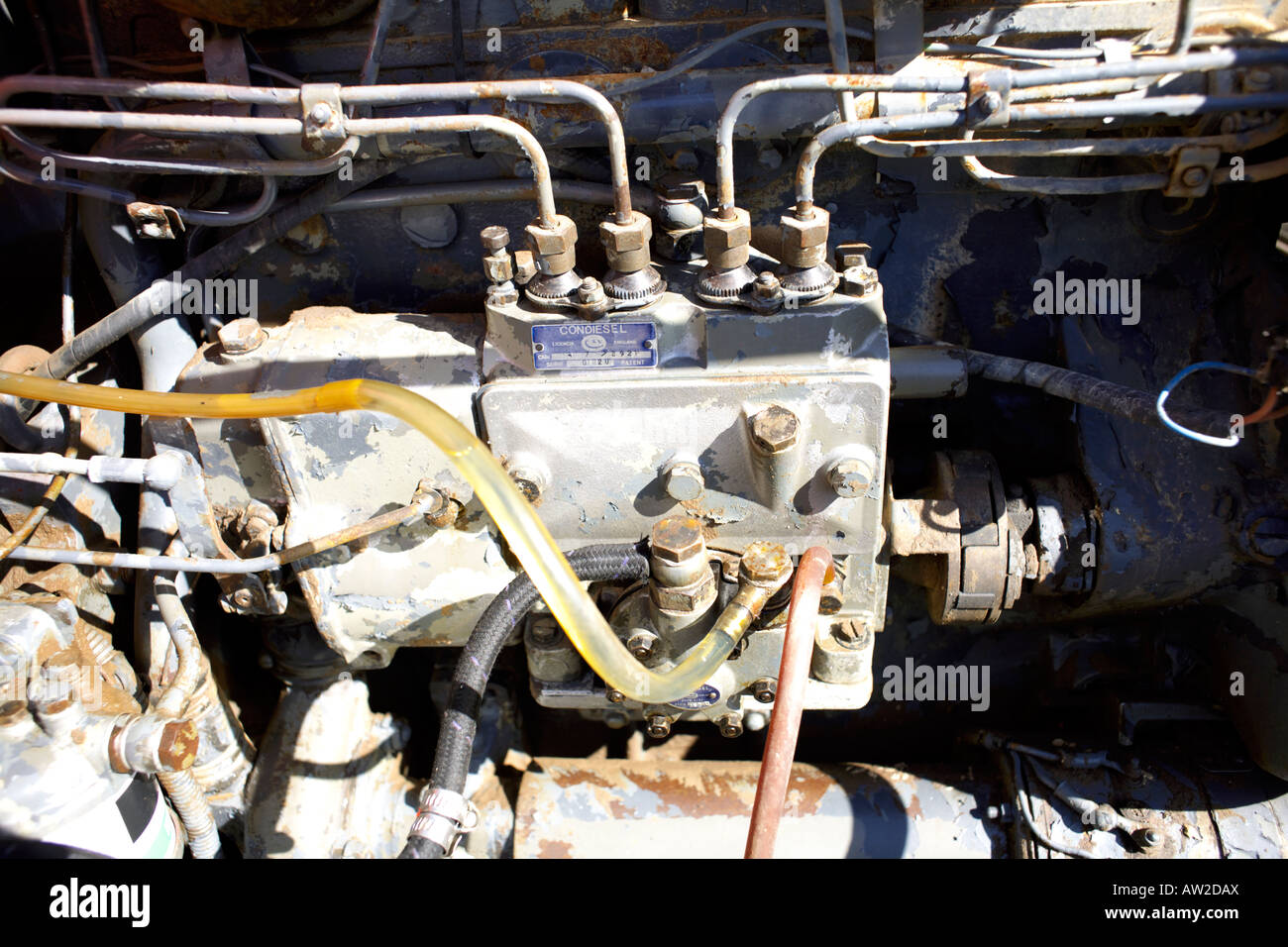 Condiesel diesel fuel injection pump on an old Barreiros Diesel S A engine Stock Photo