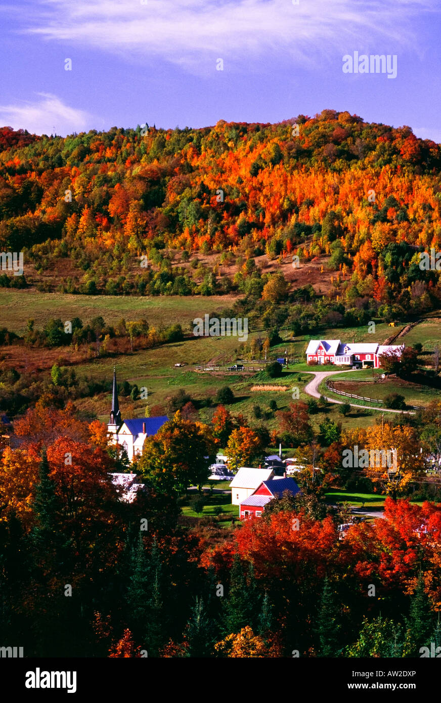 East Orange Village in fall, Vermont, New England, U.S.A. - Stock Image