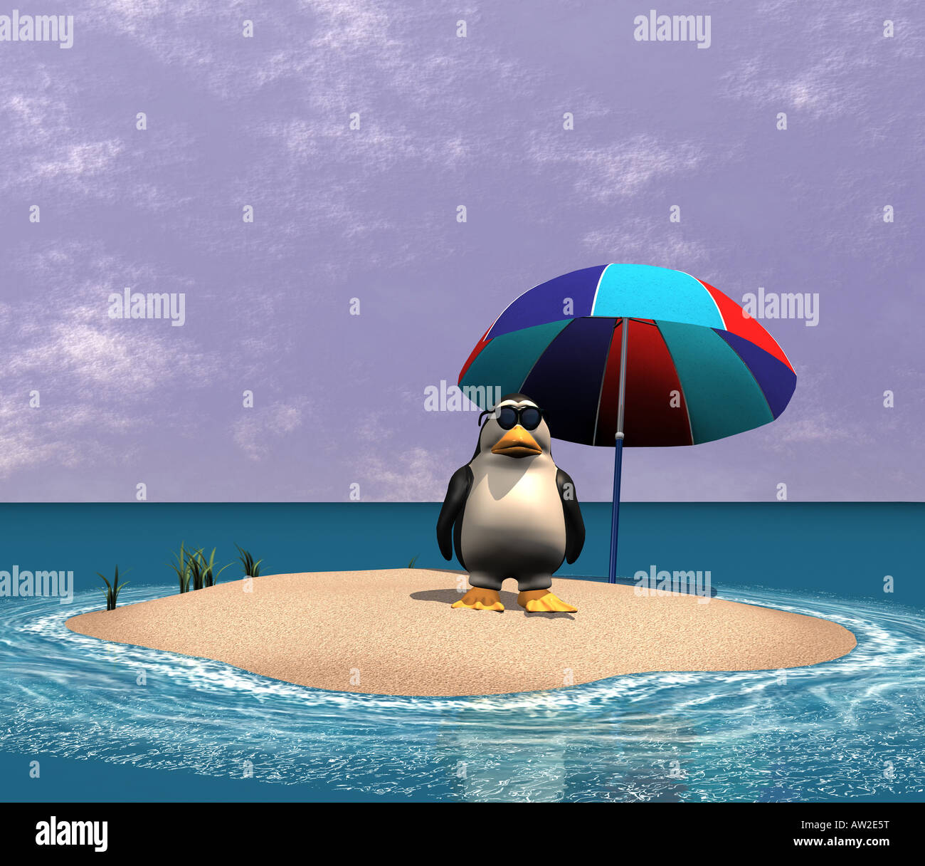 Symbol picture for the melted polar caps and icebergs as effect of climate warming Stock Photo