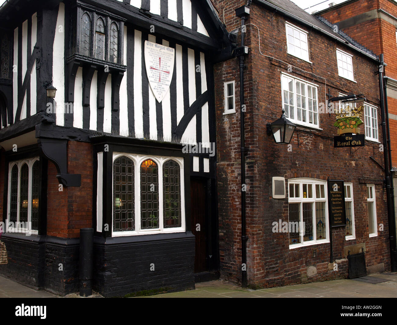 the royal oak,the oldest inn in chesterfield and one of the oldest in england,uk - Stock Image