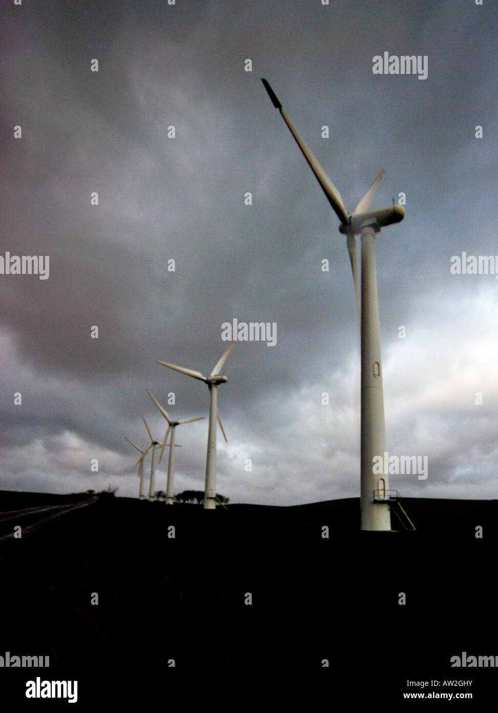 Windfarm in storm conditions Stock Photo