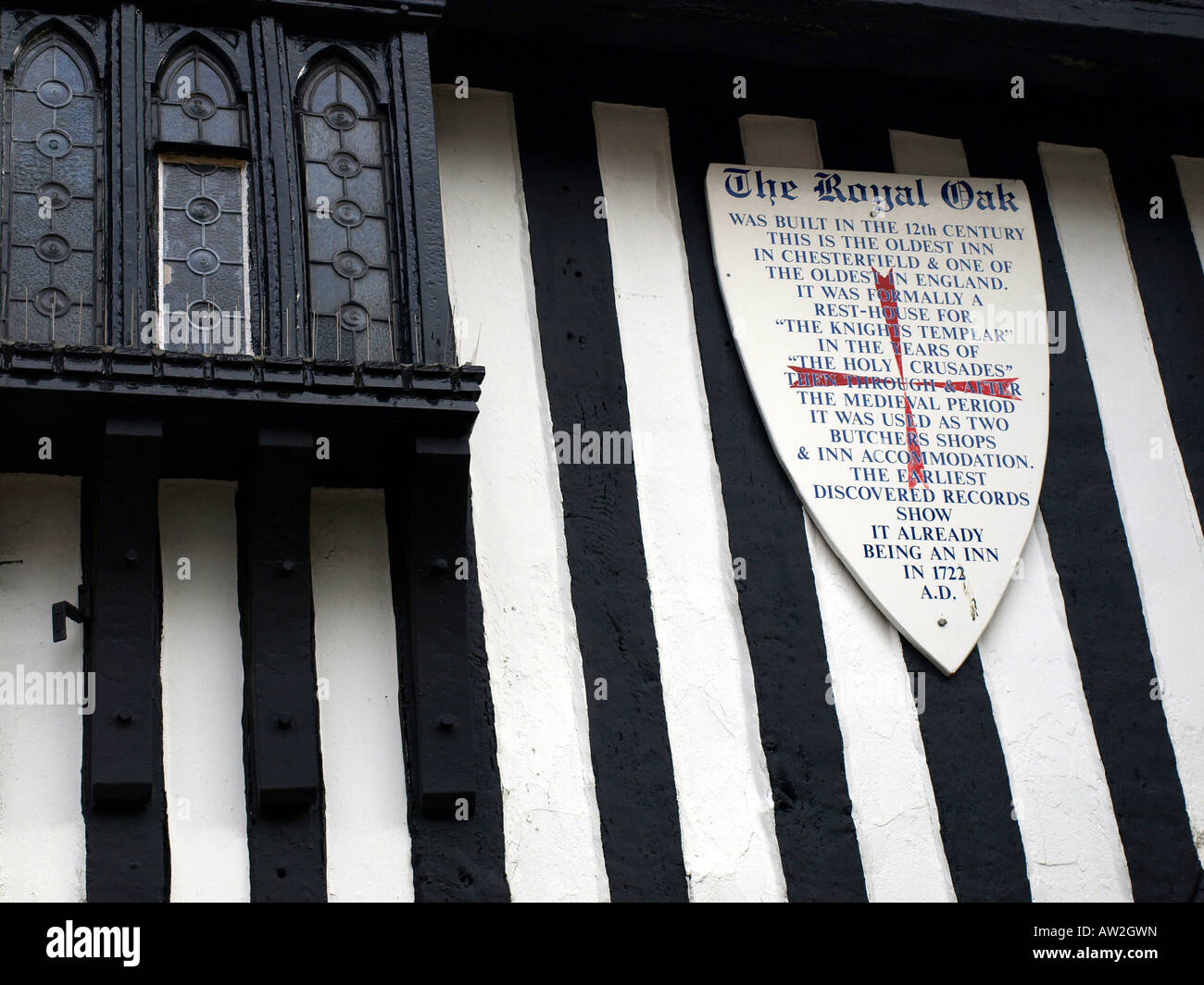 the royal oak and sign explaining history of the building at chesterfield,derbyshire,uk. - Stock Image