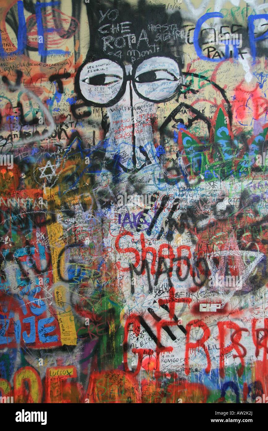 The Lennon Wall in Prague, Czech Republic. - Stock Image