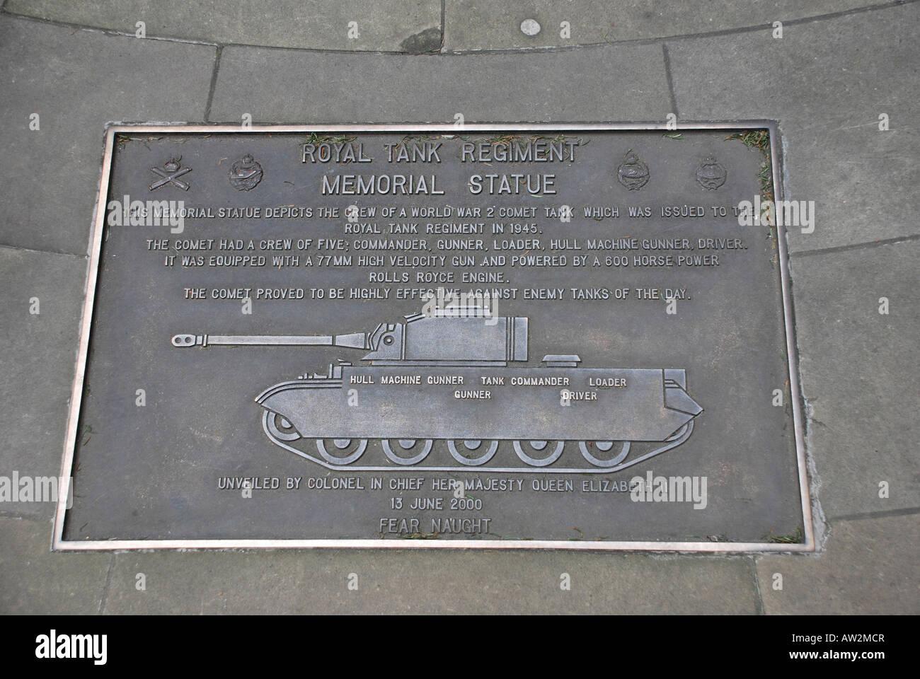 Royal Tank Regiment memorial statue plaque, London Stock Photo