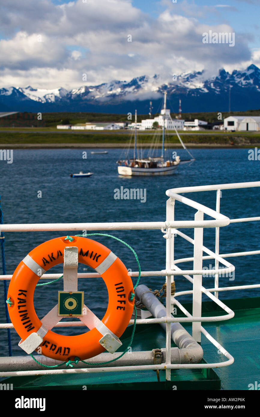 The harbour at Ushuaia seen from the deck of the Akademik Ioffe cruise ship, Argentina - Stock Image