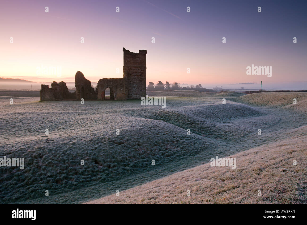 Ruins of Knowlton Church on a frosty Winters morning - Stock Image