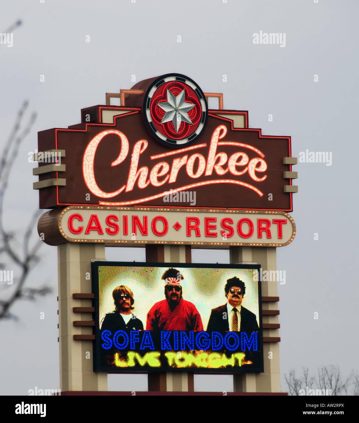 Cherokee Casino Resort sign. - Stock Image