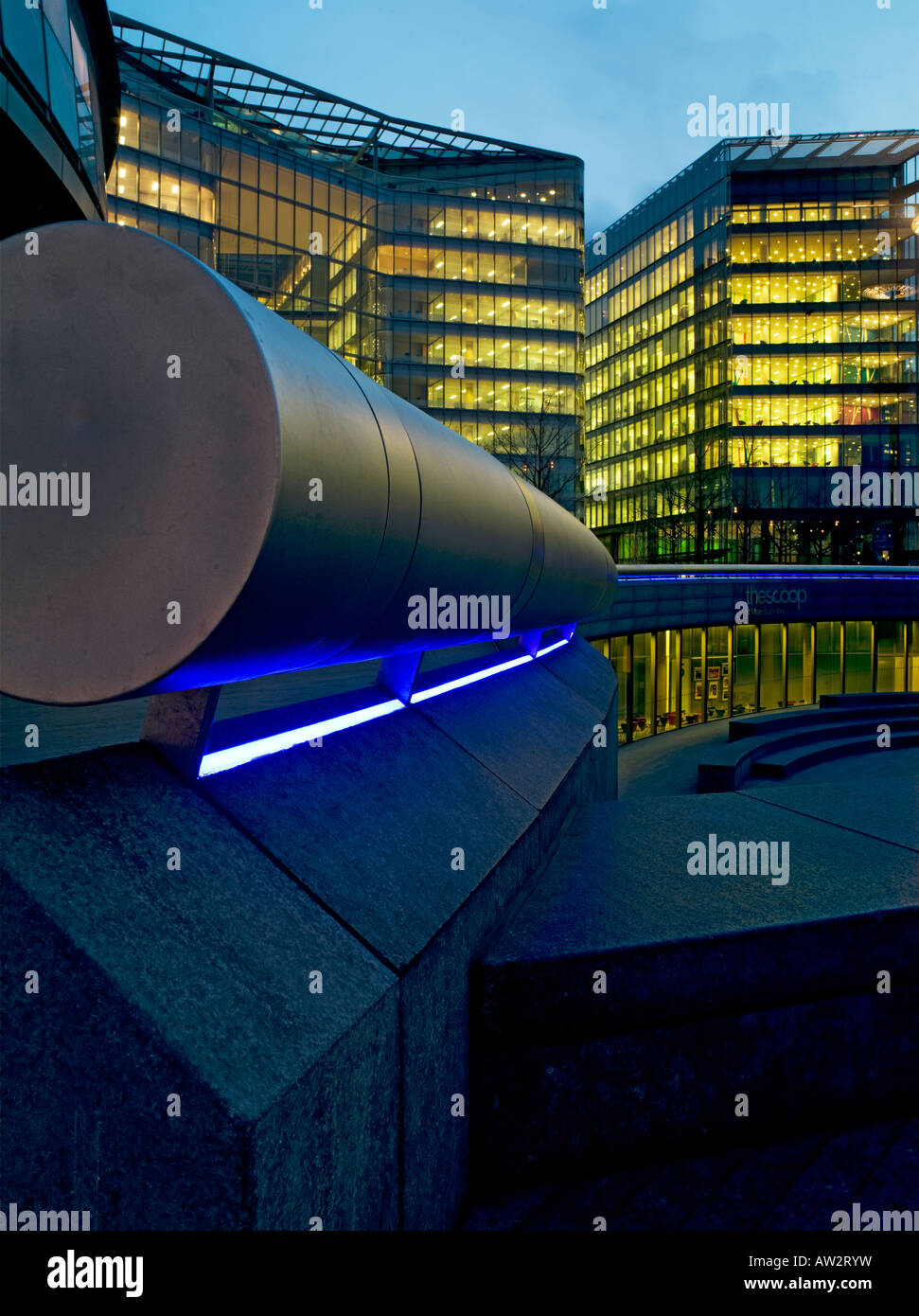 cylindrical handrail beside London City Hall, England, UK - Stock Image