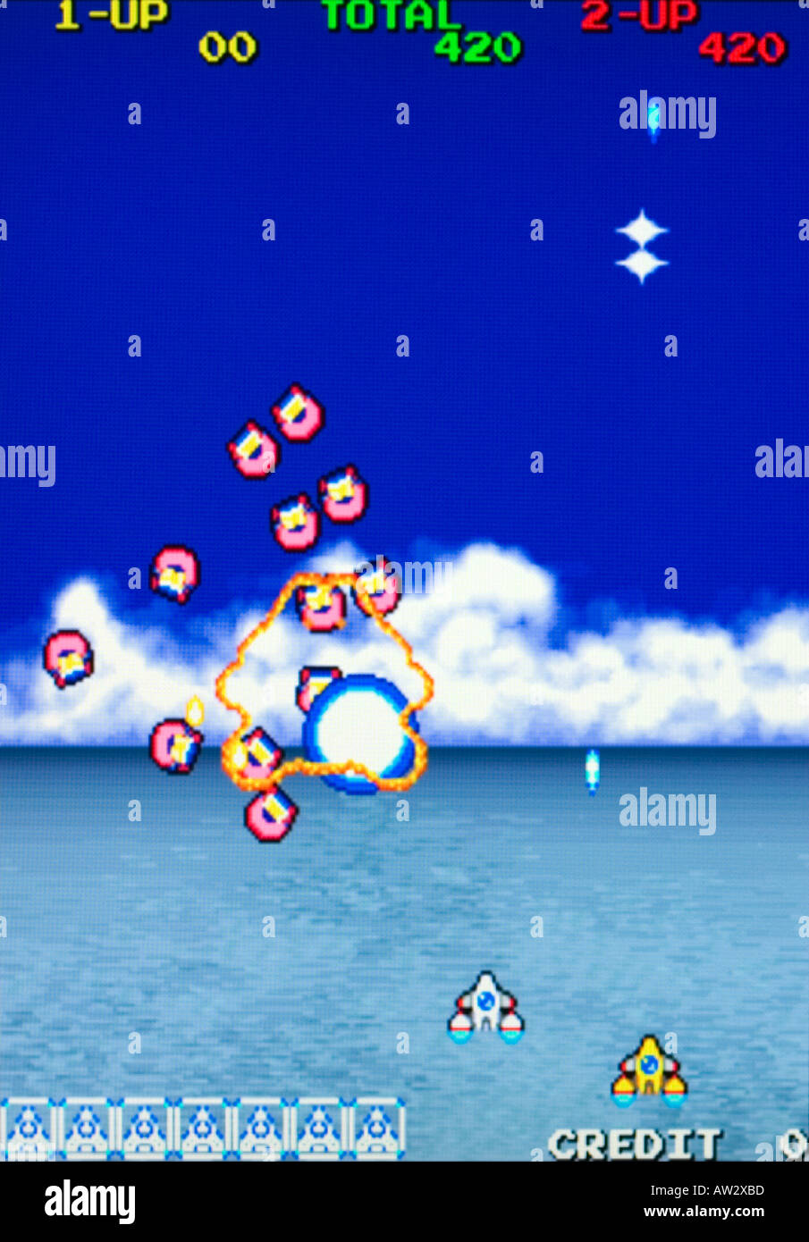 Cosmic Gang The Video Namco 1991 Vintage arcade videogame screen shot - EDITORIAL USE ONLY - Stock Image