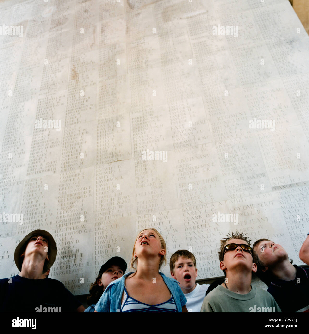 English schoolchildren see thousands of names of visit Commonwealth first world war dead memorial at Thiepval, France. - Stock Image