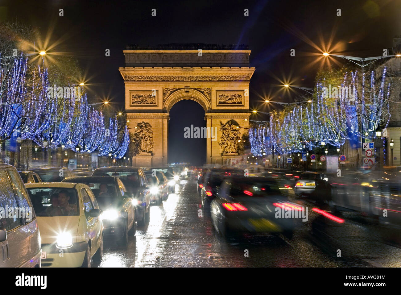 Christmas Day In France.Champs Elysee With Christmas Decoration View On The Arc De