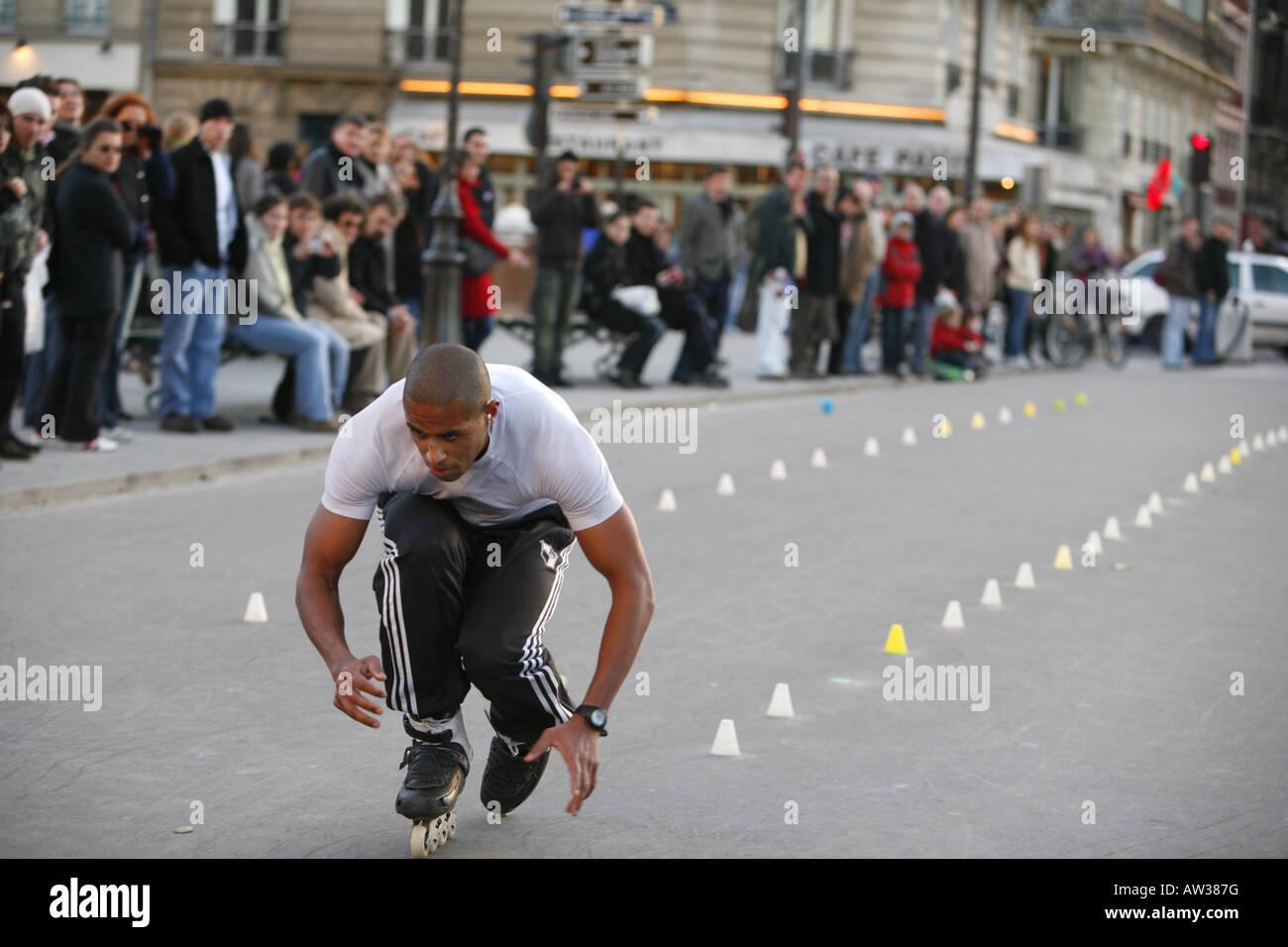 skater on Rue de la Cit, France, Paris - Stock Image
