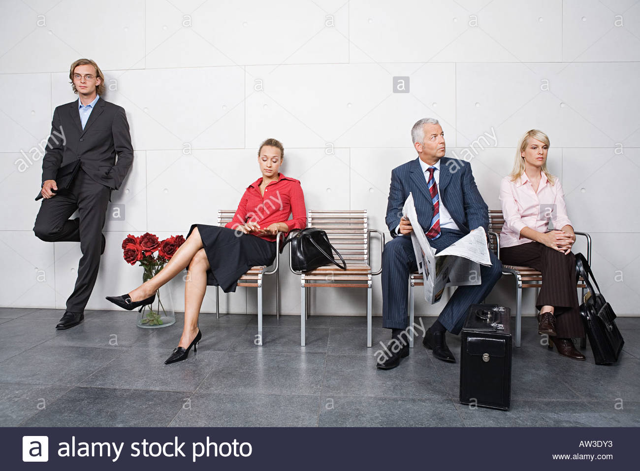 Candidates waiting for interview - Stock Image