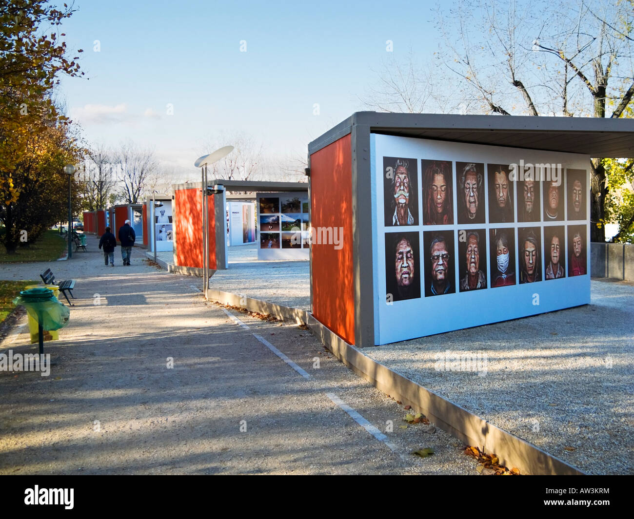 Open air art gallery exhibition at Quai Branly on the Left Bank of the River Seine, Paris, France, Europe - Stock Image