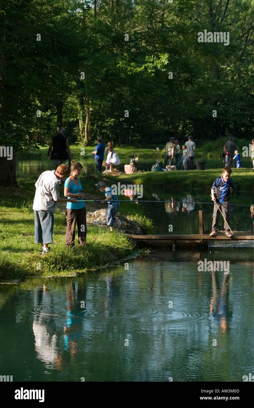 Pisciculture de Monchel An afternoon fishing at the trout farm Monchel sur Canche Pas de Calais - Stock Image