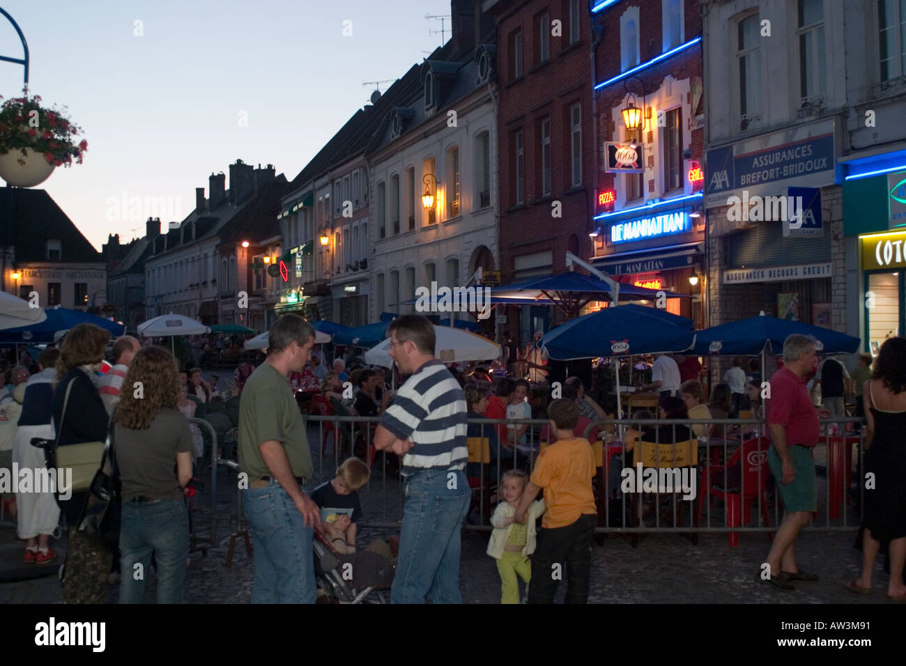 General view along town square during the Fete de la Musique event Hesdin early evening - Stock Image