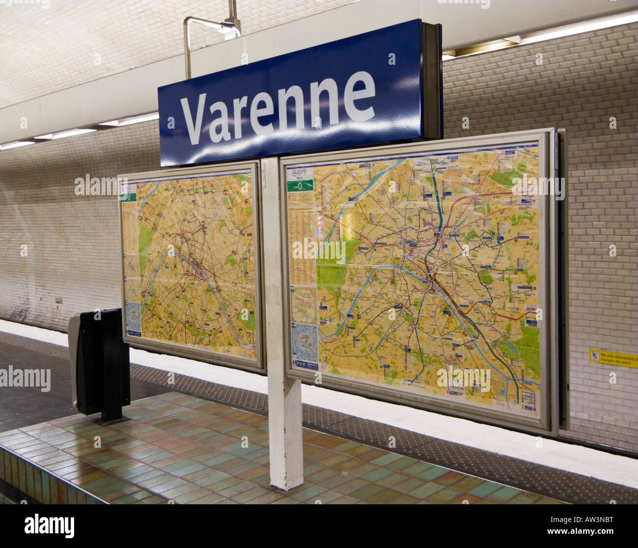 Subway Map Sign.Paris Metro Station Sign And Map On The Subway Platform At Varenne