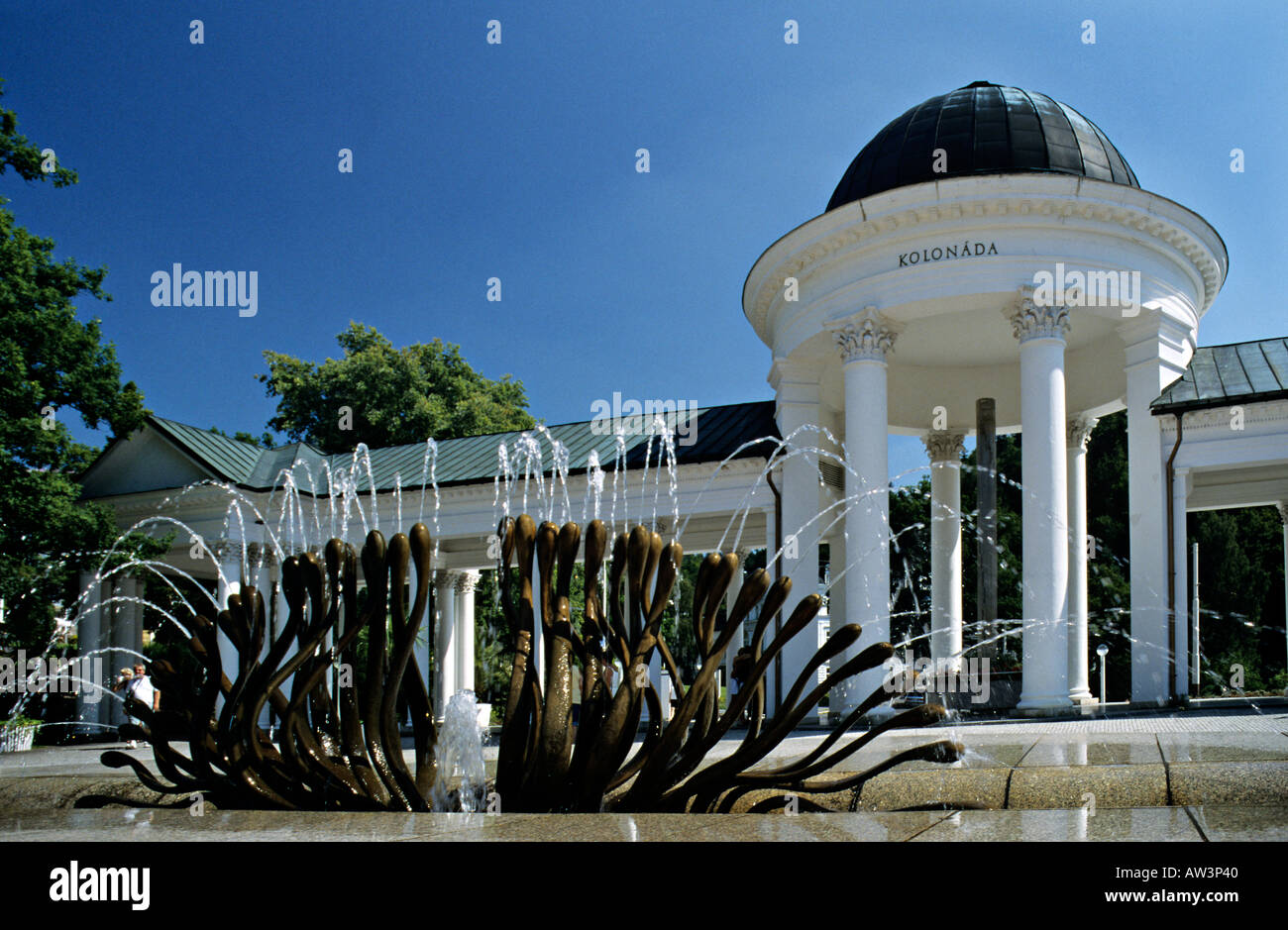 Caroline Spring and fountain Marianske Lazne Czech Republic Europe - Stock Image