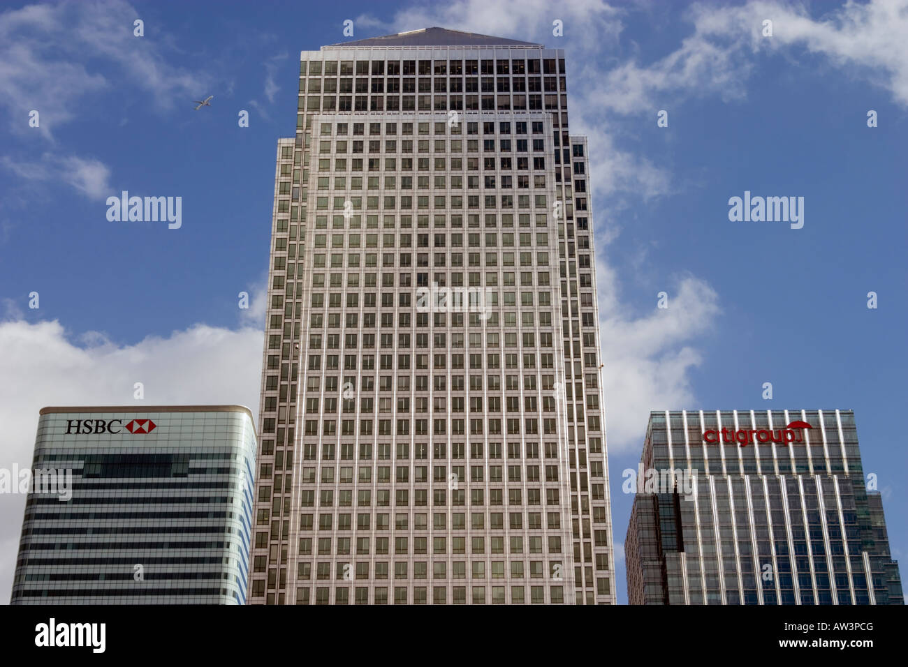 One Canada Square,HSBC and Citigroup Buildings, Canary Wharf, London - Stock Image