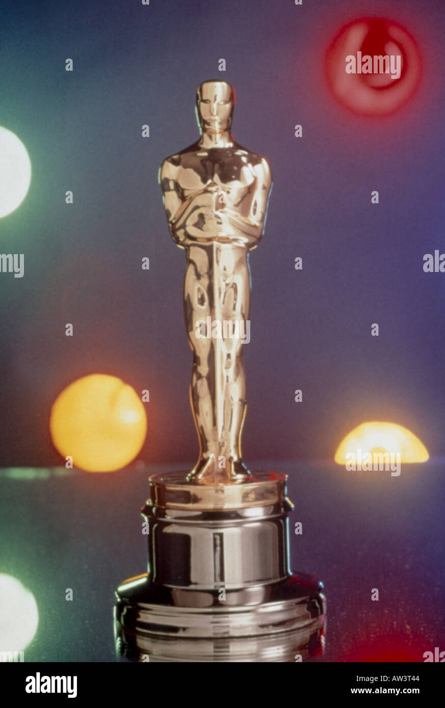 OSCAR statuette  famous film award by the American Academy of Motion Picture Arts and Sciences - see description below - Stock Image
