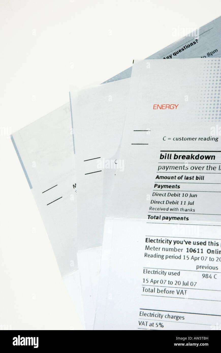 Domestic Energy Bills UK - Stock Image