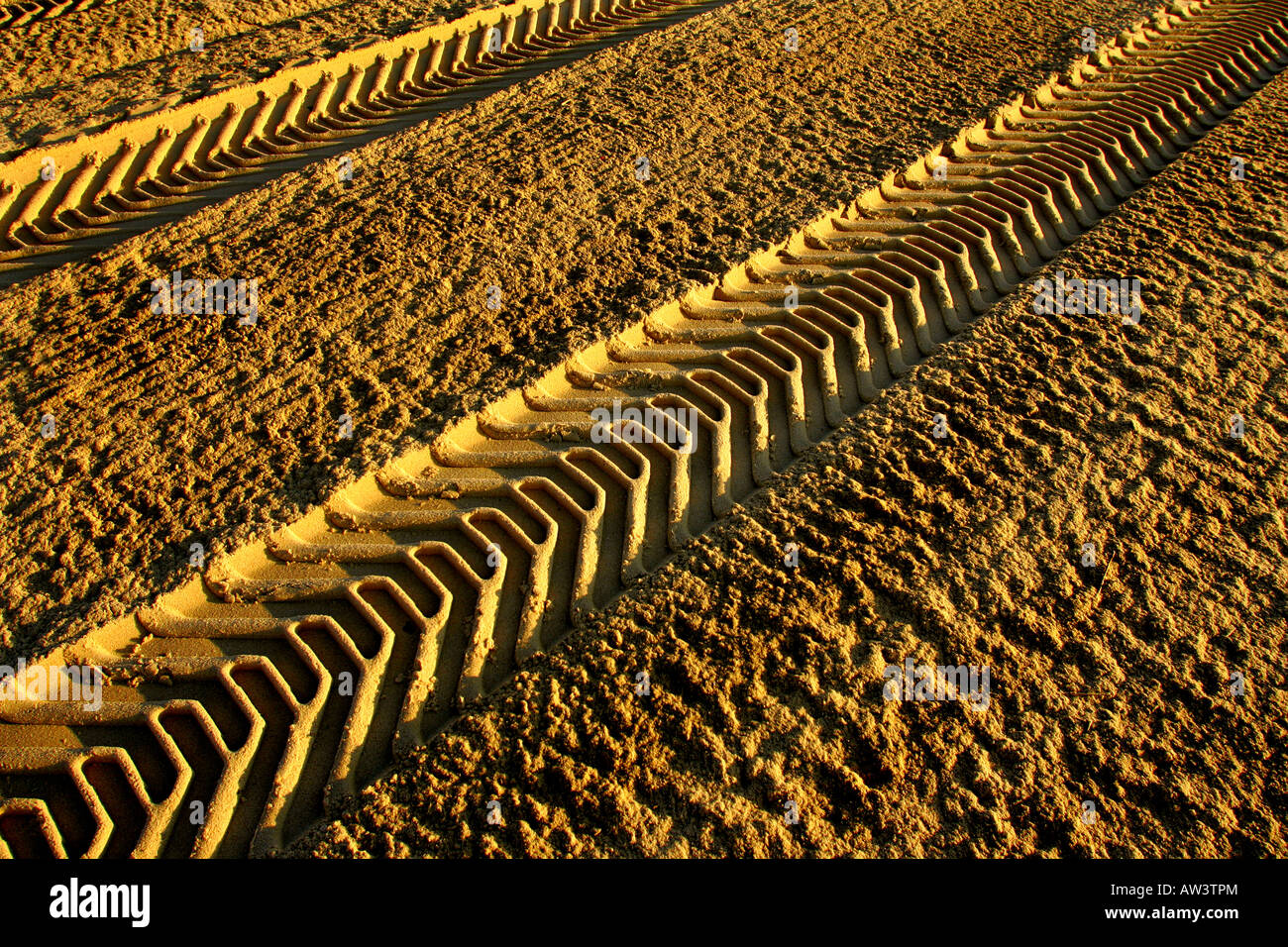 Tyre tracks in the sand - Stock Image