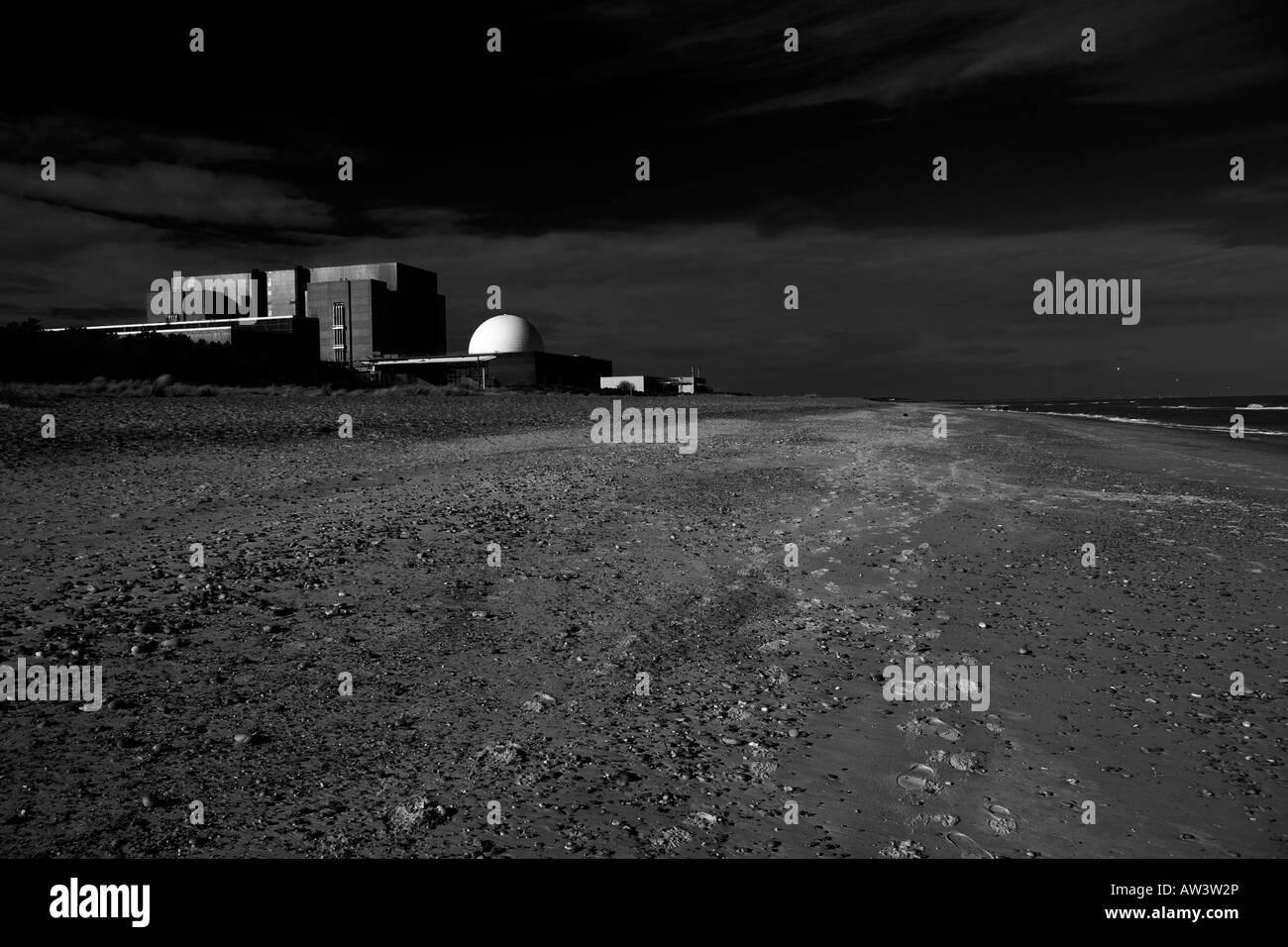 Sizewell A and  B (with dome) Nuclear Power Stations on the Suffolk coast of Britain - Stock Image