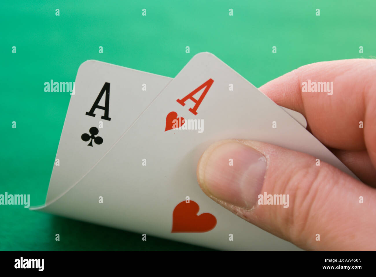 A pair of aces is statistically the best Texas hold em hand that you can be delt - Stock Image
