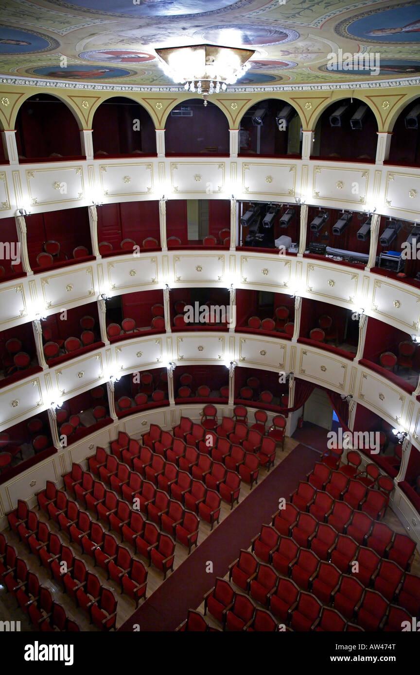 Interior of Apollo theatre in Ermoupoli - Stock Image