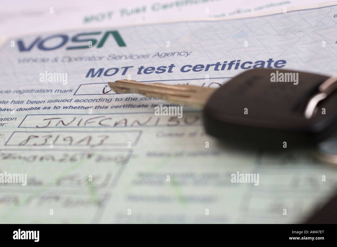 vosa mot test certificate with car keys vehicle operator services agency - Stock Image