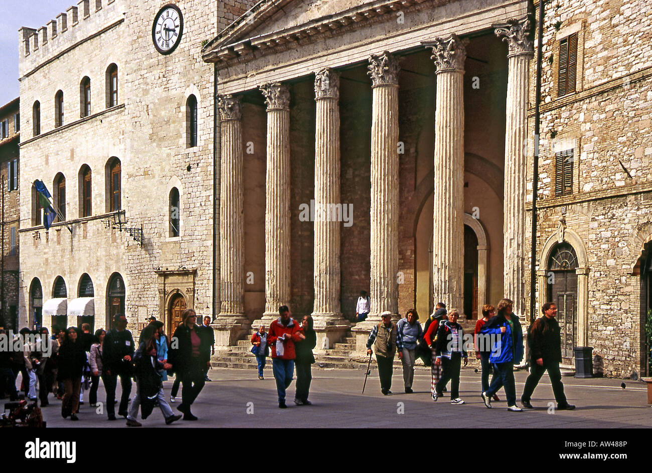 Temple of Minerva - Assisi Rome - Stock Image