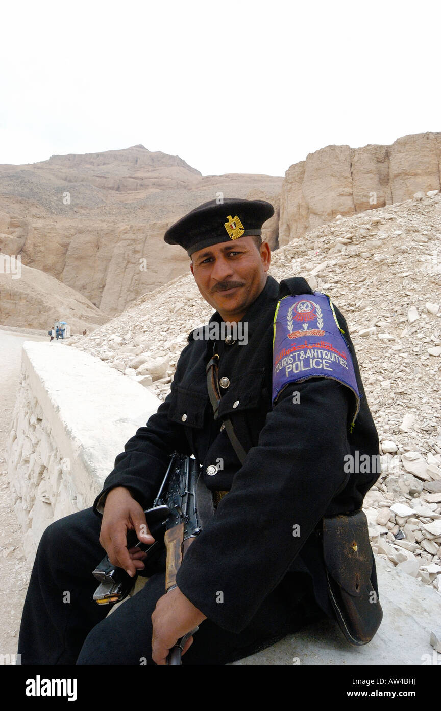 Tourist Police on duty  protecting  the Valley of the Kings, from from looters  .Thebes , Egypt - Stock Image